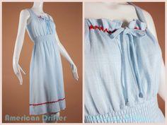 Vintage 60s Sky Blue A Line Summer Dress w Rose by AmericanDrifter