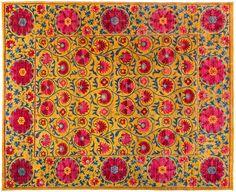 """Suzani, Oriental 8 x 10 Yellow Wool Area Rug - 8' 3"""" x 10' 1"""" – Solo Rugs"""