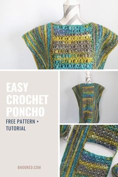 When you're ready to crochet things to wear, a poncho is the perfect place to start. Our easy crochet poncho comes together with basic shapes and assembly.  #BHooked #Crochet #FreeCrochetPattern Crochet Baby Poncho, Crochet Poncho Patterns, Crochet Shawl, Easy Crochet, Free Crochet, Knit Crochet, Scarf Patterns, Crochet Sweaters, Crochet Jacket
