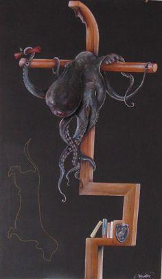 Ottavio Taranto - P. che viene punito dal S. Tecn.mista su tavola cm60x100, 2014