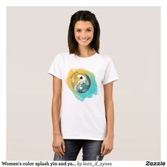 Women's color splash yin and yang volleyball T-Shirt - Fashionable Women's Shirts By Creative Talented Graphic Designers - #shirts #fashion #design #fashiondesign #designer #fashiondesigner #style