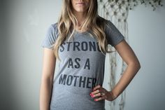 Image of Strong As A Mother - Short Sleeve Text T-Shirt - Light Grey