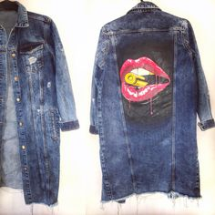 Hand painted custom denim jacket  Bullet lips