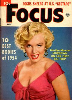 """Focus - June 1954, magazine from USA. Front cover photo of Marilyn Monroe in publicity for """"Niagara"""", 1952."""
