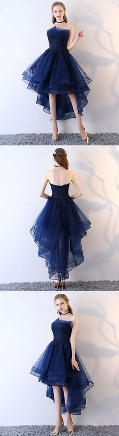 Dark blue tulle short prom dress, high low evening dress, blue tulle short homecoming dress