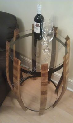 Wine barrel side table with glass top