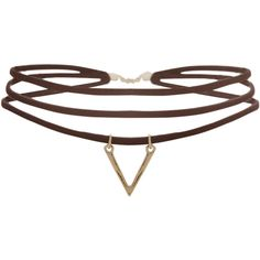 Humble Chic NY Layered V Choker ($24) ❤ liked on Polyvore featuring jewelry, necklaces, brown, boho choker, bohemian necklaces, brown choker necklace, boho necklace and pendant necklaces