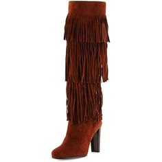Stuart Weitzman Fringie Suede Tiered Knee Boot ($369) ❤ liked on Polyvore featuring shoes, boots, brown, shoes boots mid-calf, mid-calf boots, suede knee-high boots, knee high fringe boots, brown suede boots and knee high suede fringe boots