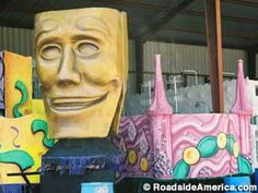 Parade floats and other Mardi Gras fixin's, open during Mardi Gras season, which begins in early January. Bossier City Louisiana, Shreveport Louisiana, Louisiana Swamp, New Orleans Vacation, Roadside Attractions, Local Events, Travel Usa, Travel Tips, Travel With Kids