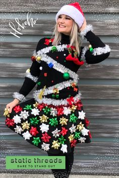 Christmas Tree Ugly Sweater, Christmas Sweaters For Women, Christmas Time, Christmas Decor, Bow Skirt, Christmas Settings, Holiday Outfits, Parties, Hands
