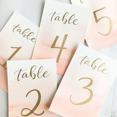 Watercolor and Gold Wedding Table Numbers || Custom Color || Calligraphy || Handwritten || Made to Order || Wedding Stationary and Signage