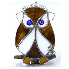 Stained glass Owl Tawny suncatcher unique handmade with love British bird wildlife Mouse Bright Blue Eyes, Craft House, Eye Make, Beaded Flowers, Suncatchers, Home Crafts, Stained Glass, Feather, Wildlife