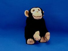 New product 'Kids Preferred Small Black Tan Chimp Press HOWLS Loudly' added to Dirty Butter Plush Animal Shoppe! - $20.00 - Kids Preferred Plush 7 inch Black Velour Chimp - Tan Velour Face, Ears, Hands, Feet - NO Tail - Arms and Legs are Straig…
