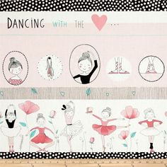 Alexander Henry Monkey's Business Plie Lt Pink/Turq from @fabricdotcom  Designed by De Leon Design Group for Alexander Henry, use this cotton print fabric for quilting and craft projects as well as apparel and home décor accents. Dance your way into this ballerina themed print that features different ballet positions. Colors include shades of pink, black, white and aqua.