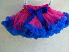 Baby Toddler Girls Pink and Blue Pettiskirt Tutu Skirt Fluffy Party Dress by adorablebyme on Etsy