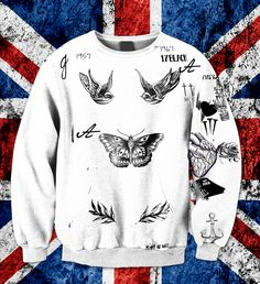 Harry Styles UPDATED Tattoo One Direction Name Sweatshirt Unisex Adult! MOST RECENT 2014 by FanGirlsGraceland on Etsy