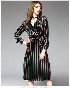 Buy Ozipan Notched-Lapel Striped Tie-Waist Coatdress at YesStyle.com! Quality products at remarkable prices. FREE Worldwide Shipping available!