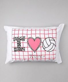 Personalized I Love Volleyball Pillow Case