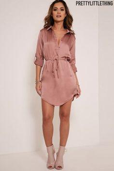 Атласное платье-рубашка с завязкой на талии PrettyLittleThing - Покупайте прямо сейчас на сайте Next: Беларусь