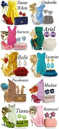 Disney inspired outfits..I know I'm a Disney nerd but these are so fun! I especially love Pocahontas, Rapynzel, Jasmine, Mulan, and Ariel!!!! <3 wish these were modest....