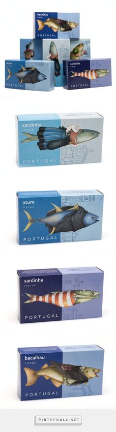 Agency: NósNaLinha Designer: Carla Nazareth Project Type: Produced, Commercial Work Client: Riscos Location: Coimbra, Portugal Packaging Contents: Canned Fish Packaging Materials: Carton Food Packaging Design, Pretty Packaging, Packaging Design Inspiration, Brand Packaging, Branding Design, Label Design, Package Design, Fish Design, Illustration