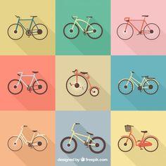 Colection of retro bikes Free Vector