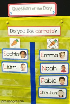 Superstars Which Are Helping Individuals Overseas How To Get Started With Question Of The Day In Your Preschool Or Pre-K Classroom. Printable Questions And Name Cards To Make Planning For And Implementing Question Of The Day Quick And Easy Creative Curriculum Preschool, Preschool Rooms, Preschool Literacy, Kindergarten Classroom, Preschool Ideas, Classroom Ideas, Preschool Classroom Themes, Pre K Curriculum, Preschool Transportation