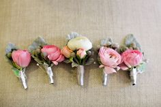 I love the silver ribbon detail on these boutonnieres