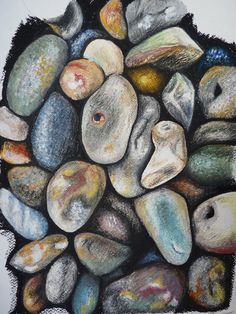 Beach Hues - Pebbles Oil Pastel Drawing - Beach / Seaside Fine Art Print