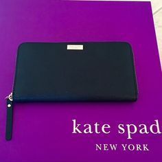 """♠️❤️NWT Kate Spade Black Neda Wallet♠️❤️ ♠️❤️NWT Kate Spade Black Neda Wallet♠️❤️.                                                       No Trades Sorry   FEATURES zip around continental wallet 12 credit card slots, 2 billfolds, zipper  DETAILS 4"""" h x 7.6"""" w x 0.8""""d kate spade Bags Wallets"""