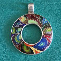 Cloisonne enamel silver pendant Peacock por EmoshineWorkshop