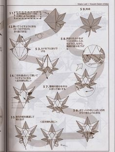 El arte del Origami: Hoja de Arce (Maple Leaf) diseñada por Kasumi Seishi Origami Maple Leaf, Diy And Crafts, Knit Crochet, Dragon, Leaves, Knitting, Flowers, Hobby, Paper Art