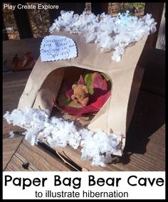 Paper Bag Bear Cave Craft - with leaves!