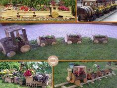 wooden train planters