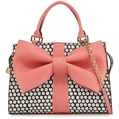 Betsey Johnson Curtsy Dotted Bow Satchel Bag ($57) ❤ liked on Polyvore featuring bags, handbags, accessories, coral, pink, satchel handbags, studded handbags, pink purse, handbag satchel and studded purse