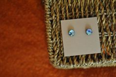 Handmade earrings 9mm paua cabochon on earring by ATouchOfJewels, $19.50