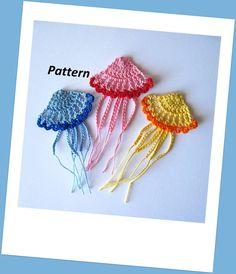Crochet Jellyfish Pattern Applique by GoldenLucyCrafts on Etsy