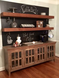 A little chalk paint behind a buffet and add some cedar beams for a fun, rustic Coffee Bar .. Fixer Upper was my inspiration.