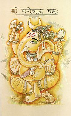 Ganesha (Reprint on Paper - Unframed) Arte Ganesha, Jai Ganesh, Ganesha Drawing, Lord Ganesha Paintings, Indian Gods, Indian Art, Ganesh Jayanti, Om Gam Ganapataye Namaha, Ganesh Wallpaper