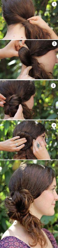 Messy side bun for long hair