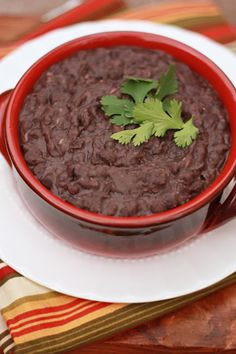 Healthy refried black beans in the crockpot!