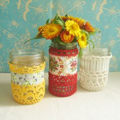 Cozy Little Jar - Vintage Fabric / Recycled Crochet Thread, and look at the cute umbrella fabric/wallpaper in the background!