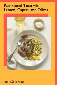 Pan seared tuna is the best way to cook fresh tuna and it is best served rare. This recipe is simple and adds loads of flavor to a quick dinner. #dinner #seared #lemon