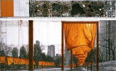 Christo, The Gates (Project for Central Park, New York City) Drawing 2004 in two parts 15 x and 42 x x 244 cm and x 244 cm) Photo: Wolfgang Volz © 2004 Christo Pablo Picasso, Casablanca, Bulgaria, Christo Y Jeanne Claude, Paris In October, Learn To Sketch, Central Park Nyc, City Drawing, Sketches Of People