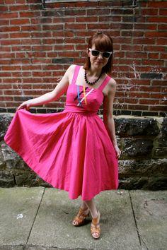 Vintage Hot Pink Summer Fun Sun Dress 80s Size 2 Size 4 S. $36.00, via Etsy.