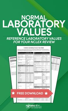 Common Normal Laboratory Values Cheat Sheet for NCLEX Review