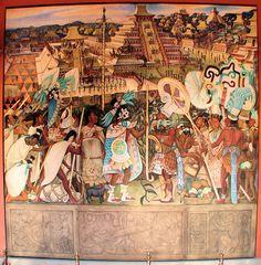 """""""Totonac Civilization, El Tajin."""" 1950 by Diego Rivera.  Palacio Nacional. Mexico City D.F. México. November 22, 2011."""