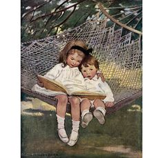 Reading in the Hammock Greeting Card - Reproduction of a 1918 Jessie Wilcox Smith image, in my #Etsy store today.