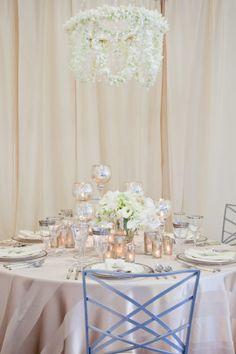 romantic white and ivory wedding table  floral design, flower centerpiece  Orange Photography via CeremonyBlog.com (1)