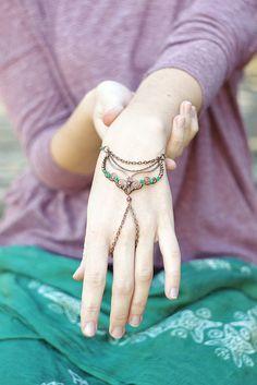 Boho gypsy copper wire wrapped hand bracelet with by SabiKrabi, $55.00